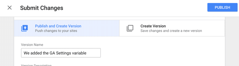 Publish tags in google tag manager