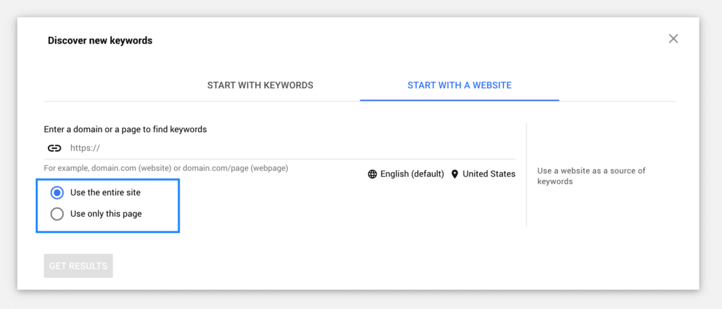 Google Ads Keyword Planner Site Search
